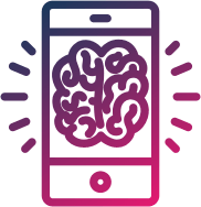 iPhone with brain illustration