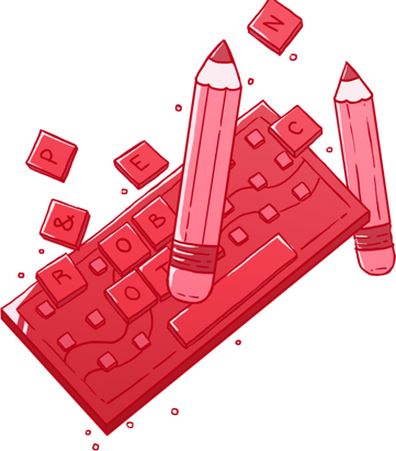keyboard and pencils graphic